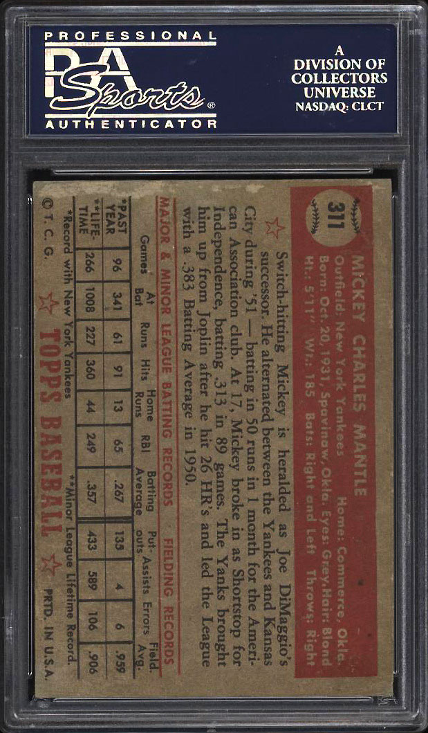 Image 2 of: 1952 Topps Mickey Mantle #311 PSA Auth, Altered (PWCC)