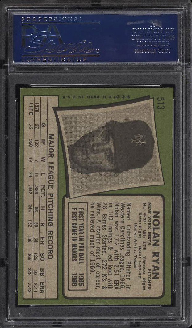 Image 2 of: 1971 Topps Nolan Ryan #513 PSA 9 MINT (PWCC)