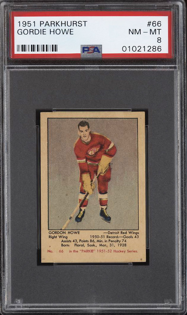 Image 1 of: 1951 Parkhurst Gordie Howe ROOKIE RC #66 PSA 8 NM-MT (PWCC-HE)