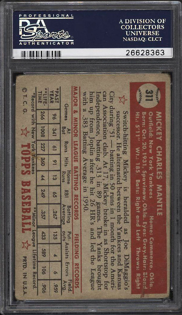 Image 2 of: 1952 Topps Mickey Mantle #311 PSA 2 GD (PWCC)