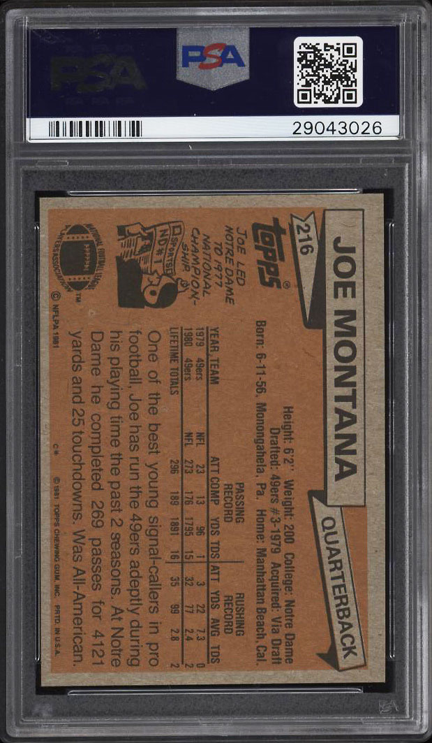 Image 2 of: 1981 Topps Football Joe Montana ROOKIE RC #216 PSA 10 GEM MINT (PWCC)