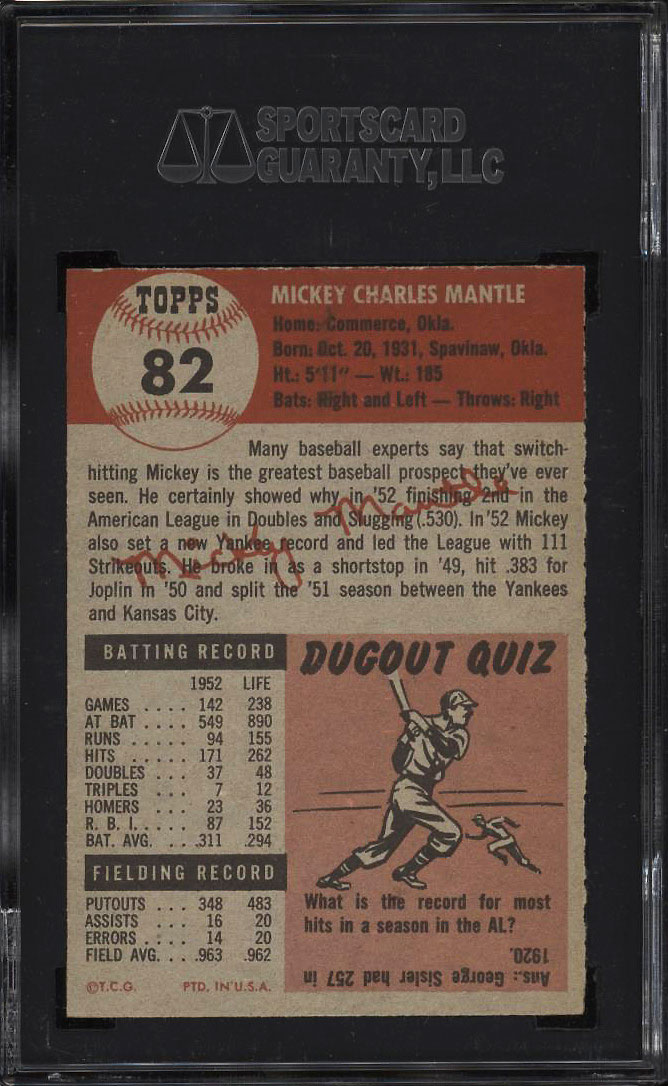 Image 2 of: 1953 Topps Mickey Mantle SHORT PRINT #82 SGC 84/7 NRMT (PWCC)