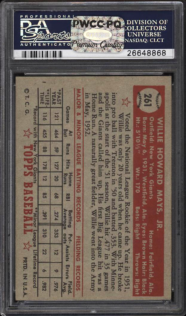 Image 2 of: 1952 Topps Willie Mays #261 PSA 6 EXMT (PWCC-PQ)