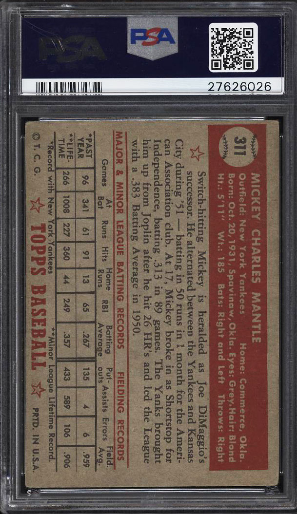 Image 2 of: 1952 Topps Mickey Mantle #311 PSA 3.5 VG+ (PWCC)