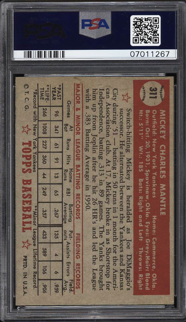 Image 2 of: 1952 Topps Mickey Mantle #311 PSA 5 EX (PWCC)
