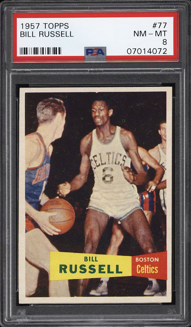 Image 1 of: 1957 Topps Basketball Bill Russell SP ROOKIE RC #77 PSA 8 NM-MT (PWCC)