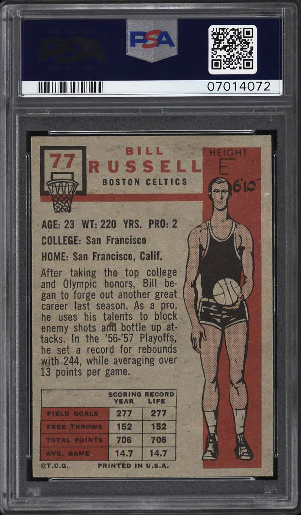 Image 2 of: 1957 Topps Basketball Bill Russell SP ROOKIE RC #77 PSA 8 NM-MT (PWCC)