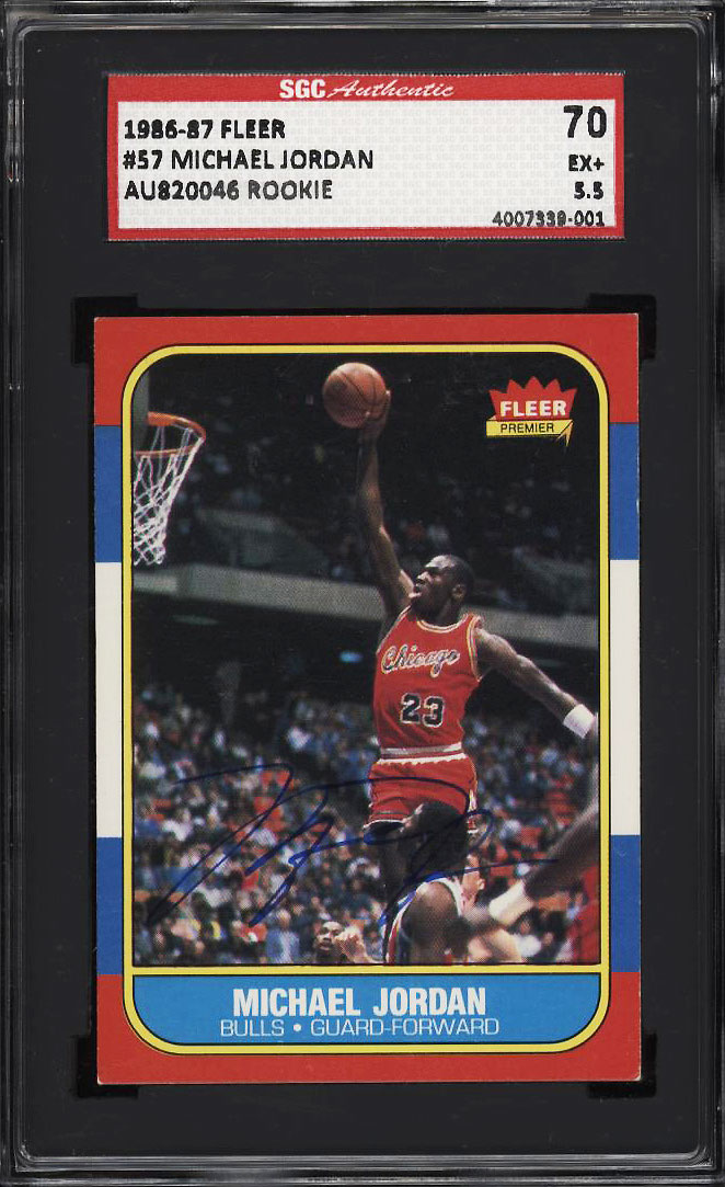 Image 1 of: 1986 Fleer Basketball Michael Jordan ROOKIE RC AUTO #57 SGC 70/5.5 EX+ (PWCC-PQ)
