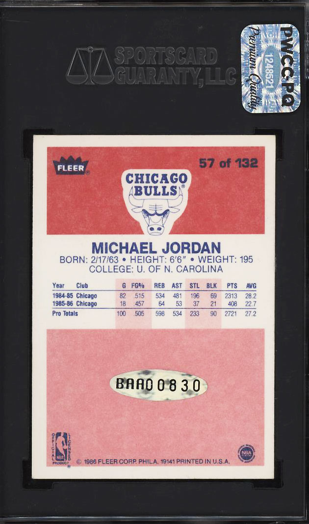 Image 2 of: 1986 Fleer Basketball Michael Jordan ROOKIE RC AUTO #57 SGC 70/5.5 EX+ (PWCC-PQ)