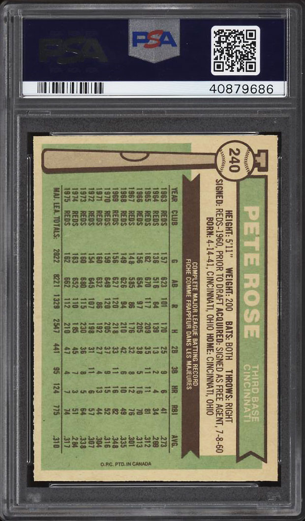 Image 2 of: 1976 O-Pee-Chee Pete Rose #240 PSA 10 GEM MINT (PWCC)