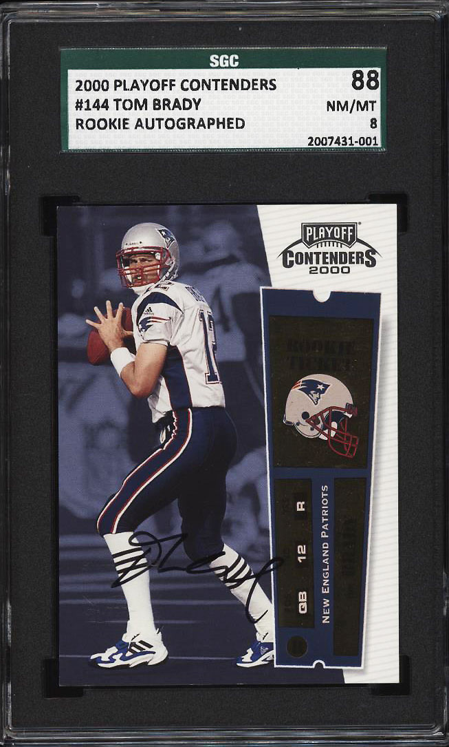 Image 1 of: 2000 Playoff Contenders Tom Brady ROOKIE RC AUTO #144 SGC 88/8 NM-MT (PWCC)