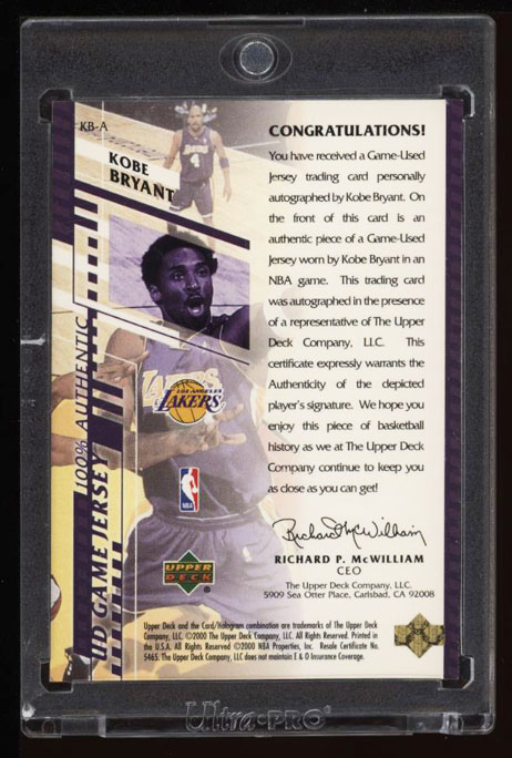Image 2 of: 2000 Upper Deck Game Jersey Kobe Bryant AUTO PATCH JSY# 8/8 #KB-A (PWCC)
