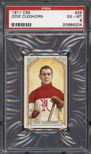 Image of: 1911 C55 Hockey Odie Cleghorn ROOKIE RC #25 PSA 6 EXMT (PWCC)
