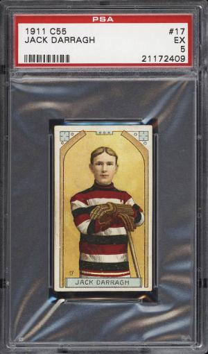 Image of: 1911 C55 Hockey Jack Darragh ROOKIE RC #17 PSA 5 EX (PWCC)