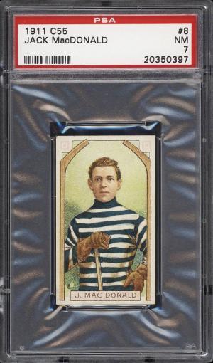 Image of: 1911 C55 Hockey Jack MacDonald ROOKIE RC #8 PSA 7 NRMT (PWCC)