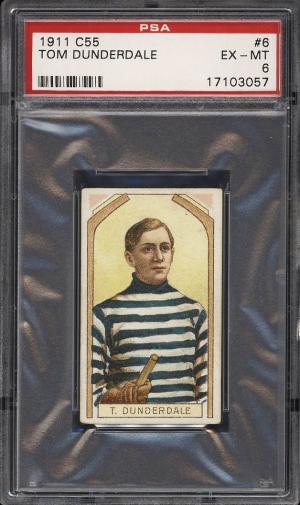 Image of: 1911 C55 Hockey Tom Dunderdale #6 PSA 6 EXMT (PWCC)