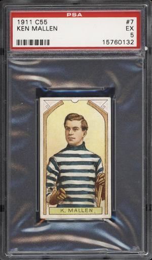 Image of: 1911 C55 Hockey Ken Mallen ROOKIE RC #7 PSA 5 EX (PWCC)