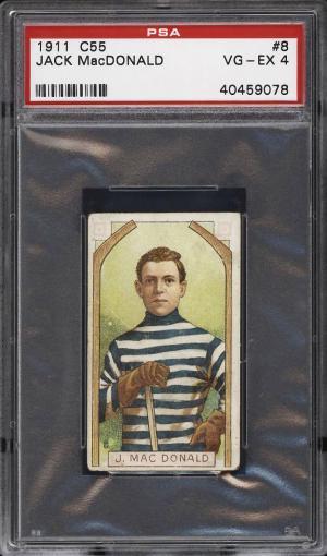 Image of: 1911 C55 Hockey Jack MacDonald ROOKIE RC #8 PSA 4 VGEX (PWCC)