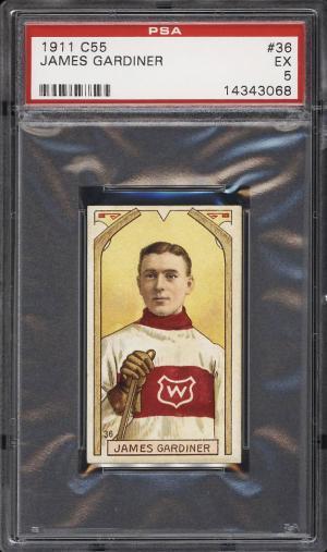 Image of: 1911 C55 Hockey James Gardiner ROOKIE RC #36 PSA 5 EX (PWCC)