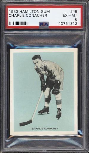 Image of: 1933 Hamilton Gum Hockey Charlie Conacher ROOKIE RC #49 PSA 6 EXMT (PWCC-PQ)