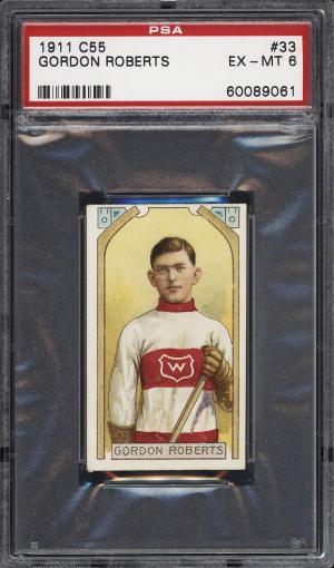 Image of: 1911 C55 Hockey Gordon Roberts #33 PSA 6 EXMT (PWCC)