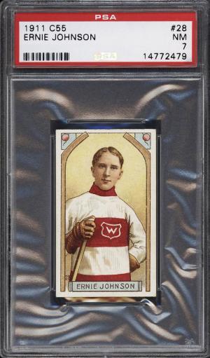 Image of: 1911 C55 Hockey Ernie Johnson #28 PSA 7 NRMT (PWCC)