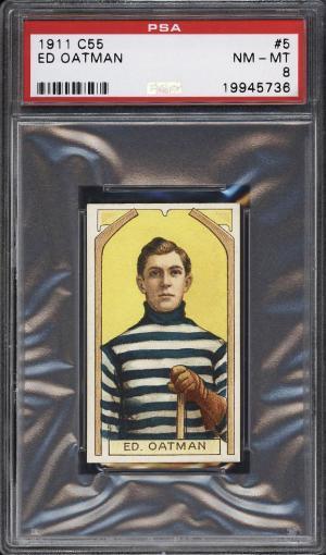Image of: 1911 C55 Hockey Ed Oatman #5 PSA 8 NM-MT (PWCC)
