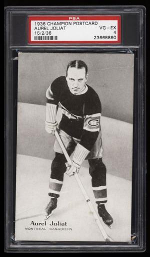 Image of: 1936 Champion Postcards Hockey Aurel Joliat PSA 4 VGEX (PWCC)