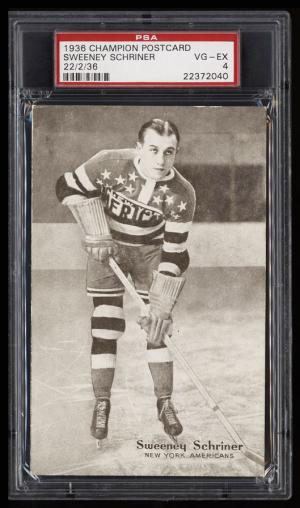 Image of: 1936 Champion Postcards Hockey Sweeney Schriner ROOKIE RC PSA 4 VGEX (PWCC)