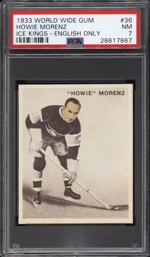 Image of: 1933 World Wide Gum Ice Kings Howie Morenz ENGLISH ONLY #36 PSA 7 NRMT (PWCC-PQ)