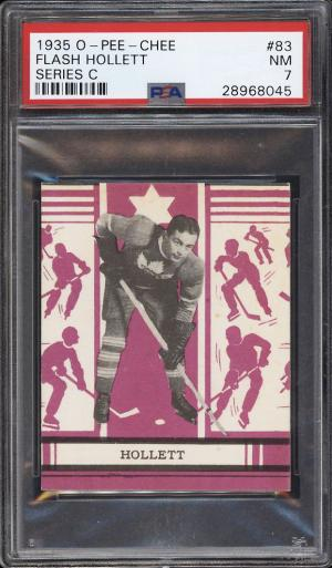 Image of: 1935 O-Pee-Chee Hockey Series C Flash Hollett #83 PSA 7 NRMT (PWCC)