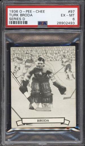 Image of: 1936 O-Pee-Chee Hockey Series D Turk Broda ROOKIE RC #97 PSA 6 EXMT (PWCC)