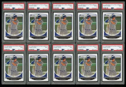 Image of: Lot(27) 2013 Bowman DP & Prospects Aaron Judge ROOKIE RC, ALL PSA 9 MINT (PWCC)
