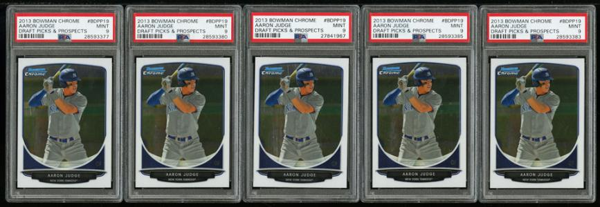 Image of: Lot(5) 2013 Bowman Chrome Prospects Aaron Judge ROOKIE RC, ALL PSA 9 MT (PWCC)