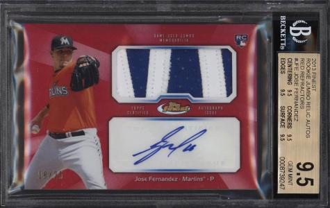 Image of: 2013 Finest Red Refractor Jose Fernandez ROOKIE RC AUTO PATCH /25 BGS 9.5 (PWCC)