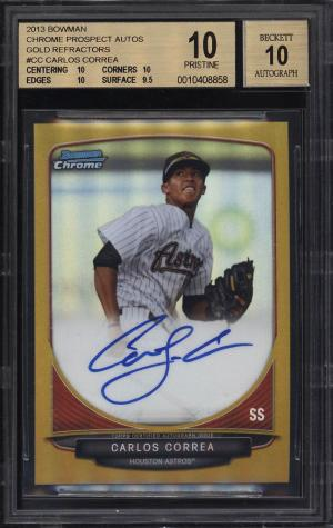 Image of: 2013 Bowman Chrome Gold Refractor Carlos Correa ROOKIE RC AUTO /50 BGS 10 (PWCC)