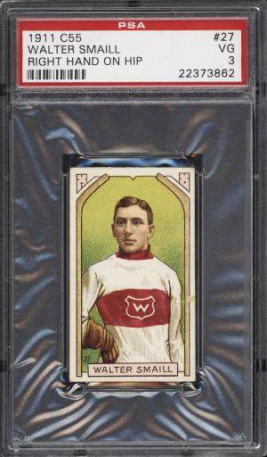 Image of: 1911 C55 Hockey Walter Smaill ROOKIE RC, RIGHT HAND ON HIP #27 PSA 3 VG (PWCC)