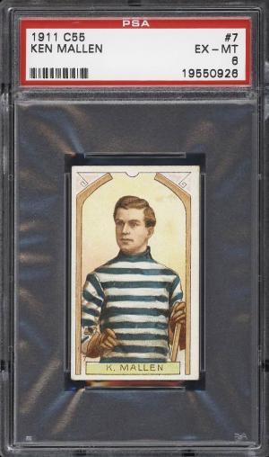 Image of: 1911 C55 Hockey Ken Mallen ROOKIE RC #7 PSA 6 EXMT (PWCC)