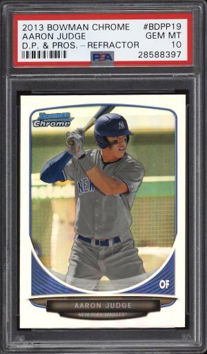 Image of: 2013 Bowman Chrome Draft Refractor Aaron Judge ROOKIE RC #BDPP19 PSA 10 (PWCC)