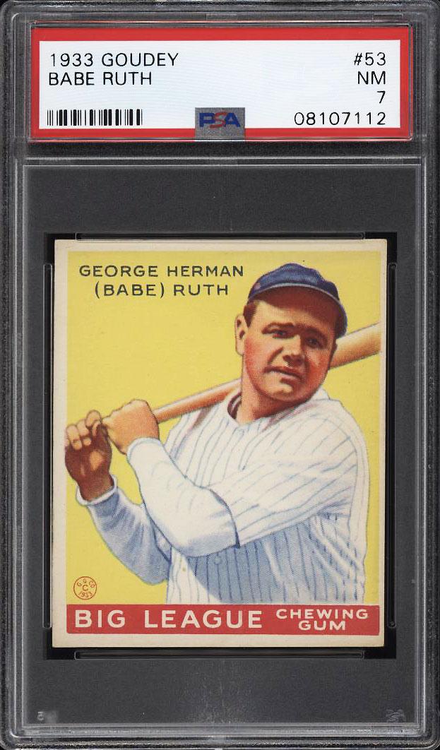 Image 1 of: 1933 Goudey Babe Ruth #53 PSA 7 NRMT (PWCC)