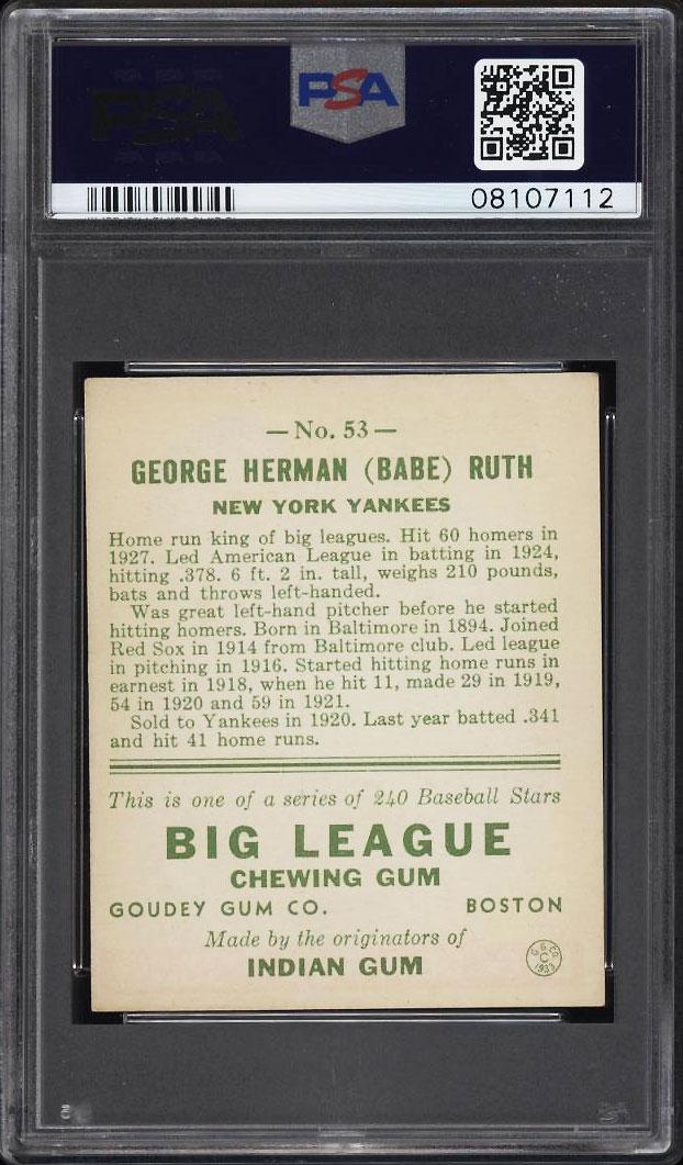 Image 2 of: 1933 Goudey Babe Ruth #53 PSA 7 NRMT (PWCC)