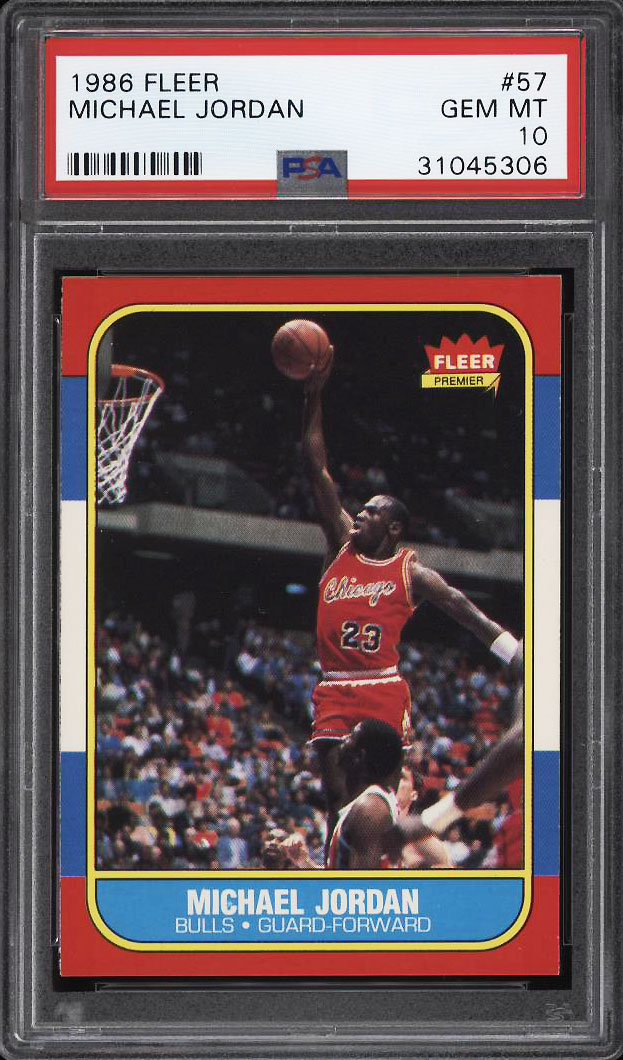 Image 1 of: 1986 Fleer Basketball Michael Jordan ROOKIE RC #57 PSA 10 GEM MINT (PWCC)