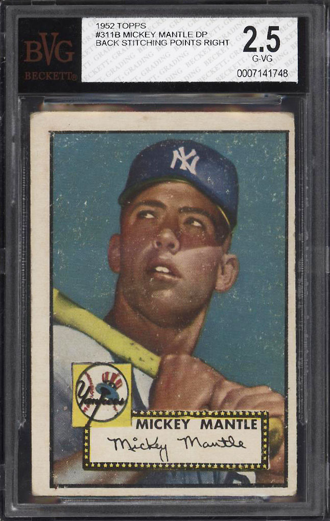 Image 1 of: 1952 Topps Mickey Mantle #311 BVG 2.5 GD+ (PWCC)
