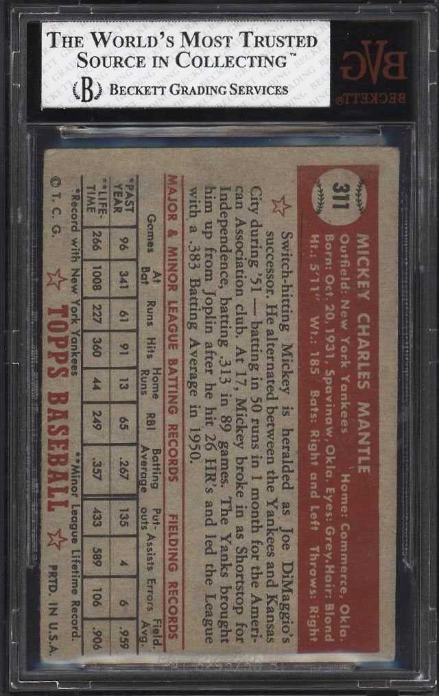 Image 2 of: 1952 Topps Mickey Mantle #311 BVG 2.5 GD+ (PWCC)