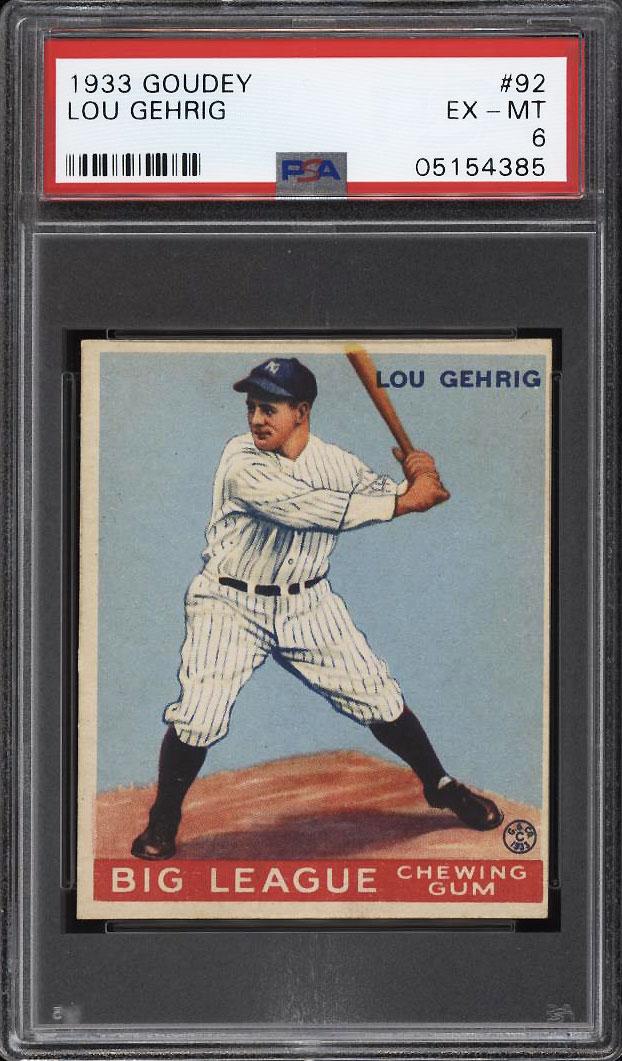 Image 1 of: 1933 Goudey Lou Gehrig #92 PSA 6 EXMT (PWCC)