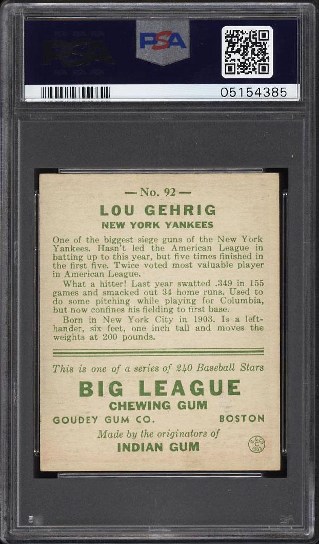 Image 2 of: 1933 Goudey Lou Gehrig #92 PSA 6 EXMT (PWCC)