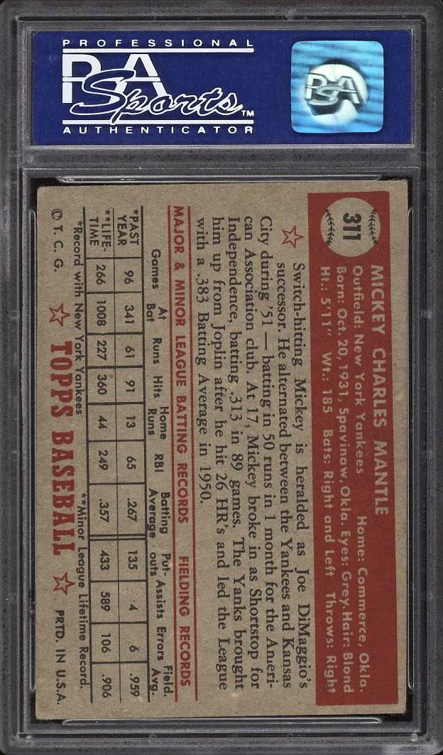 Image 2 of: 1952 Topps Mickey Mantle #311 PSA 3 VG (PWCC)