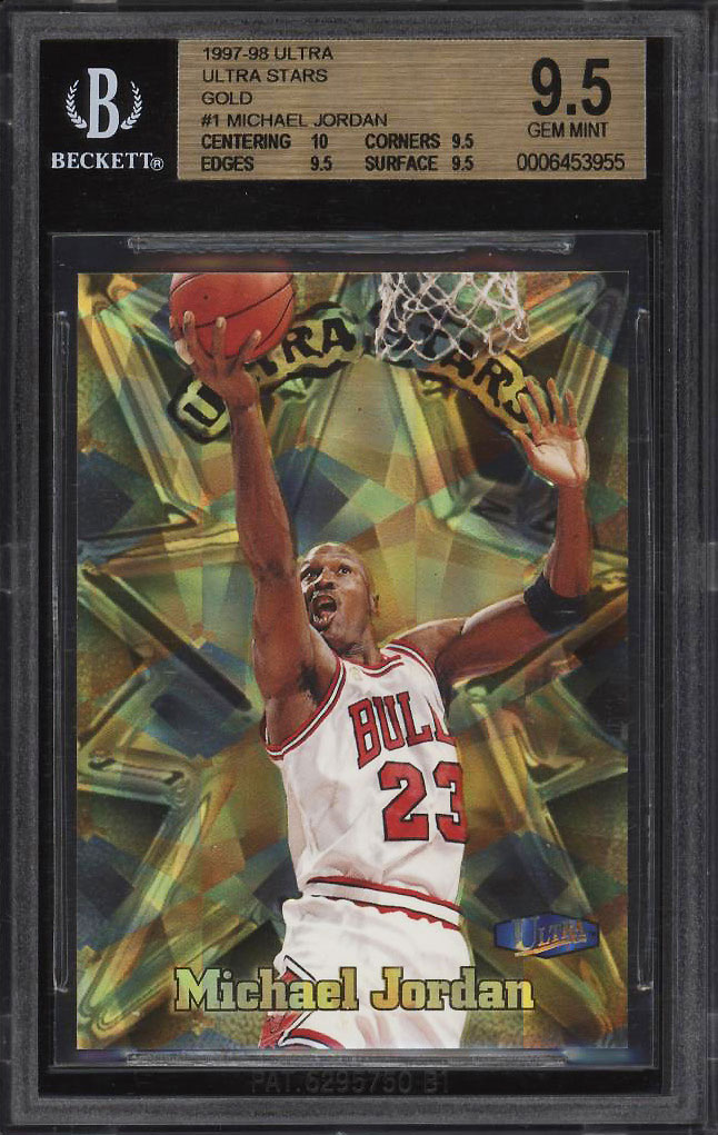 Image 1 of: 1997 Ultra Stars Gold Michael Jordan #1 BGS 9.5 GEM MINT (PWCC)