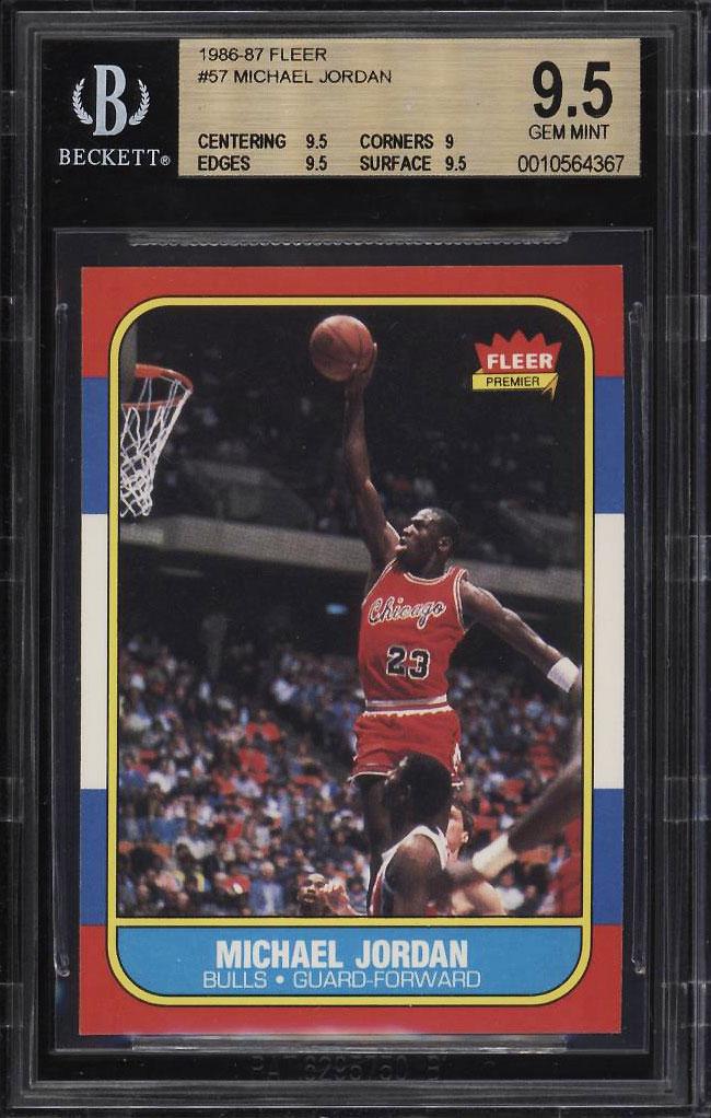Image 1 of: 1986 Fleer Basketball Michael Jordan ROOKIE RC #57 BGS 9.5 GEM MINT (PWCC)