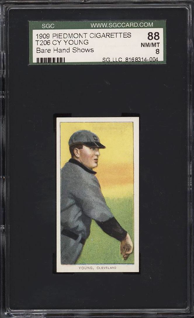 Image 1 of: 1909-11 T206 Cy Young CLEVELAND, BARE HAND SHOWS SGC 88/8 NM-MT (PWCC)
